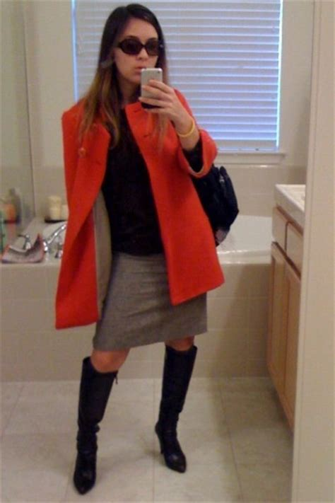 brown sweaters orange jackets gray skirts brown boots