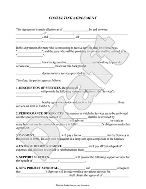 consulting agreement consulting contract template with