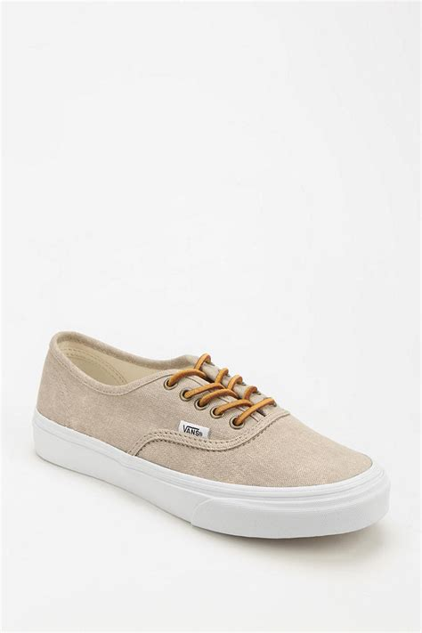 beige sneakers for vans authentic washed womens sneaker in beige lyst