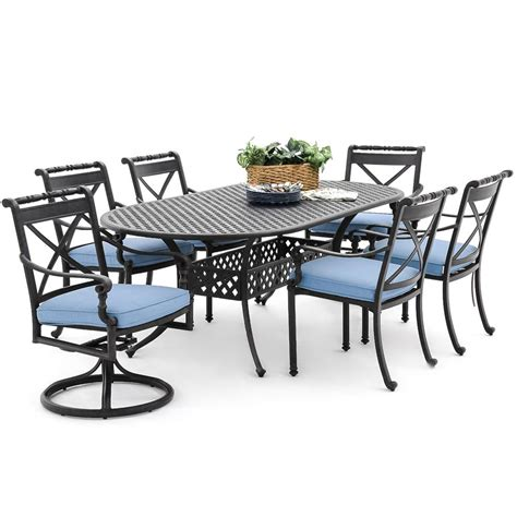 Outdoor Dining Set Blue Carrolton 7 Cast Aluminum Patio Dining Set With 2