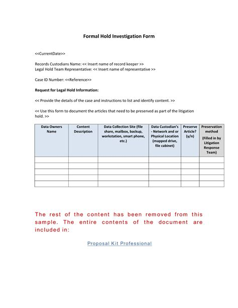Mncis Records Formal Record Hold Investigation Form Use The Formal Record Hold Investigation Form