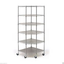 wire steel shelving industrial commercial garage rolling metal corner shelving