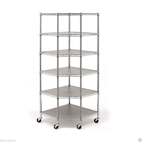 corner wire shelving industrial commercial garage rolling metal corner shelving 6 wire steel shelves ebay