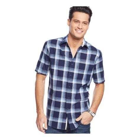 Club Room Clothing by Club Room Mens Linen Plaid Button Up Shirt Walmart