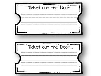 Ticket Out The Door Template by Ticket Out The Door By Elizabeth Ciavarella Teachers Pay