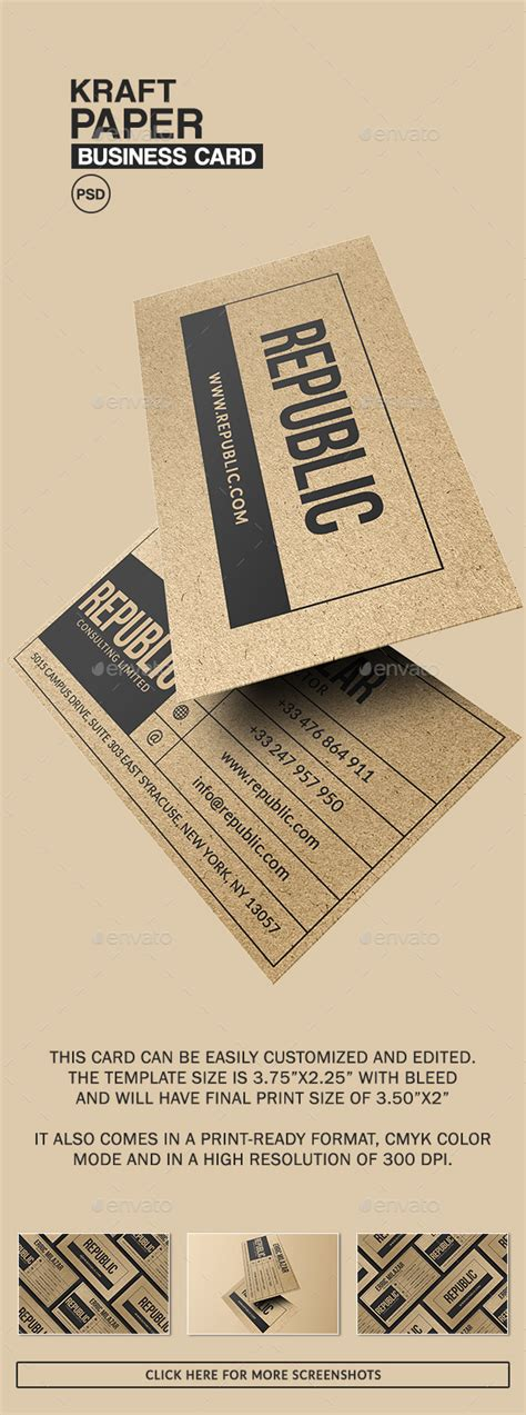printable kraft paper business cards kraft paper business card by bizicard graphicriver
