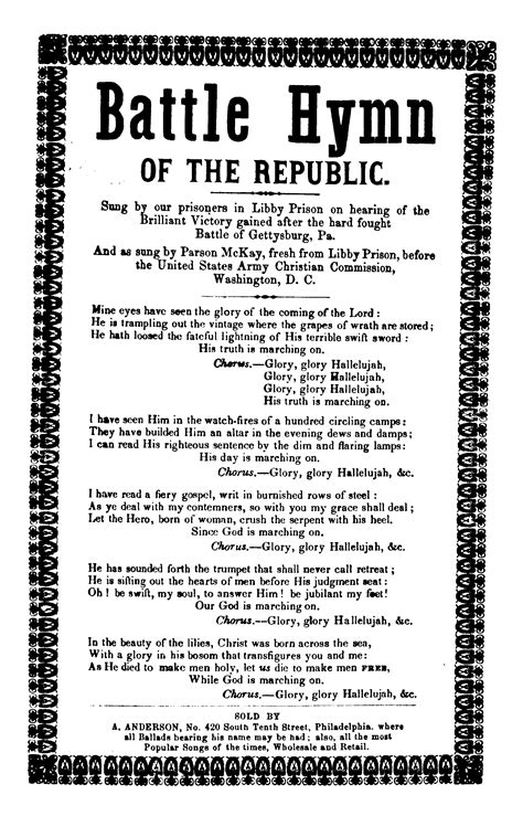 Printable Lyrics To Battle Hymn Of The Republic | battle hymn of the republic a anderson no 420 tenth