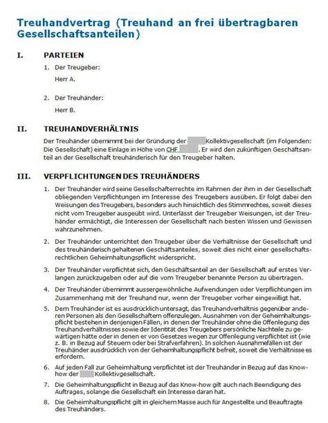 Vertragsvorlagen Muster Vorlage F 252 R Den Vertrag Mit Einem Schweizer Treuh 228 Nder