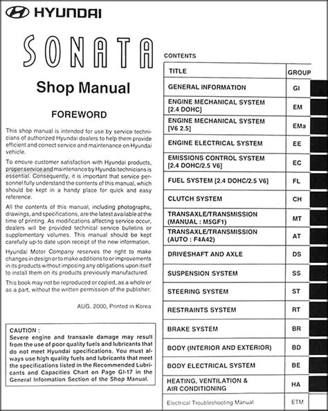 car repair manuals online pdf 2001 hyundai sonata security system 2001 hyundai sonata repair shop manual original