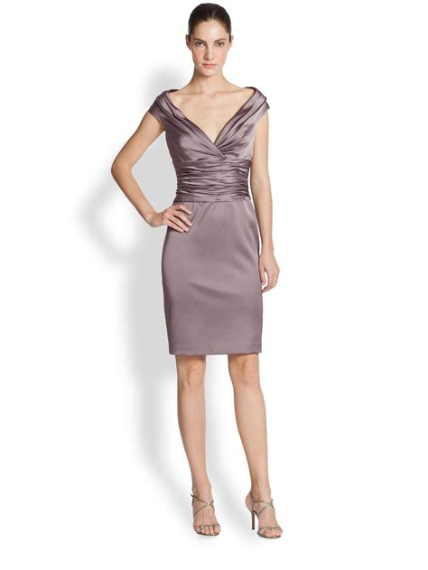 Dress Of The Day Unger Silk Cocktail Dress unger satin ruched waist cocktail dress in purple