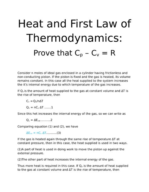 solution heat and of thermodynamics prove that