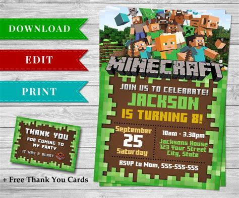 printable minecraft birthday invitation template 126 best images about minecraft printable papercrafts on