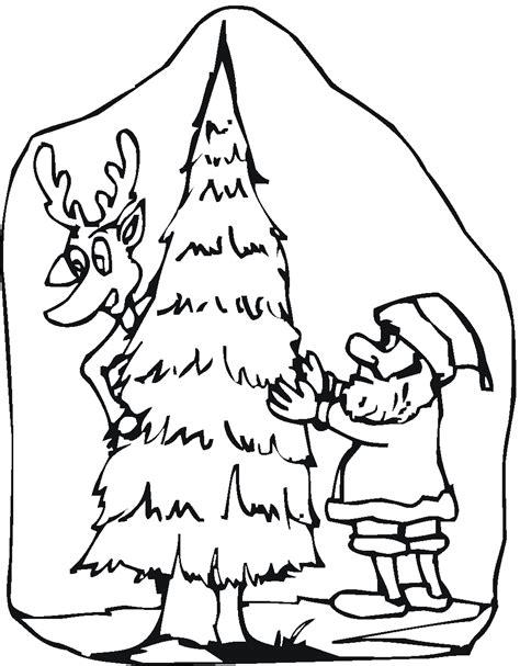 Free Coloring Pages Of Santa Christmas Tree Santa And Tree Coloring Pages