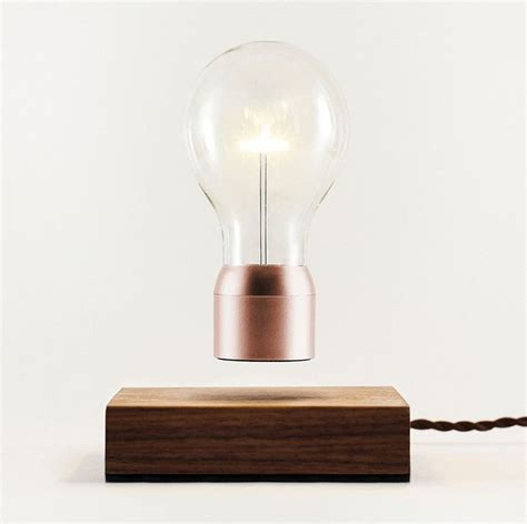 floating light bulb buckminster 2 0 magnetic levitation walnut wood and