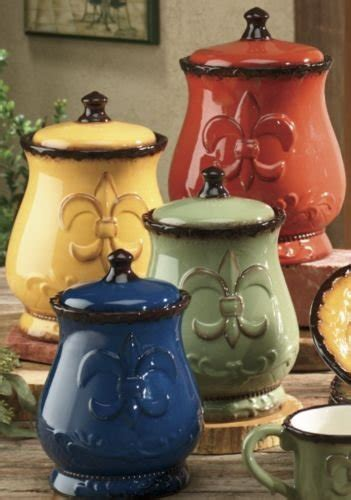 fleur de lis canisters for the kitchen tuscany colorful painted fleur de lis canisters set