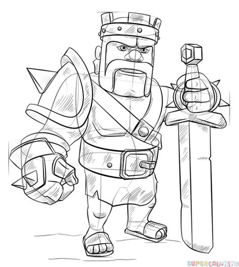 barbarian king coloring pages how to draw barbarian king from clash of clans super