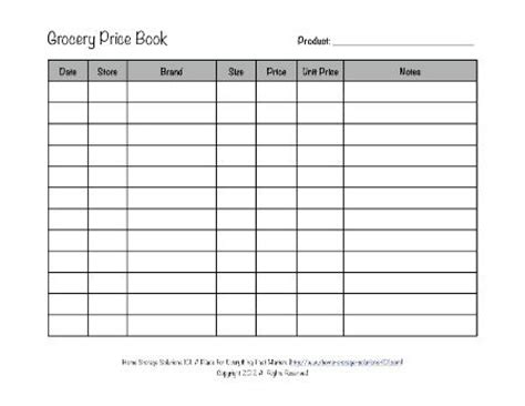 printable grocery price book template grocery price book use it to compare grocery prices in