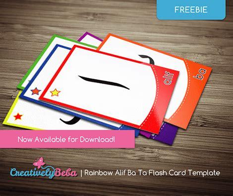 diy flash card template rainbow alif ba ta flashcard template