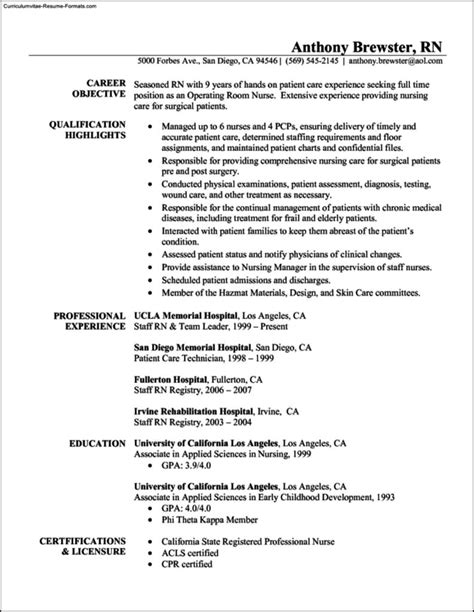 rn resume template free resume template rn free sles exles format