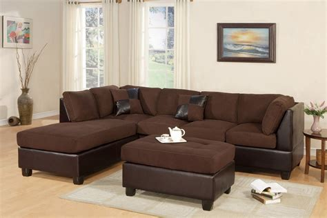 Microfiber Sectional Sofa With Ottoman by Sectional Sofa Reversible Chiase Microfiber Chocolate