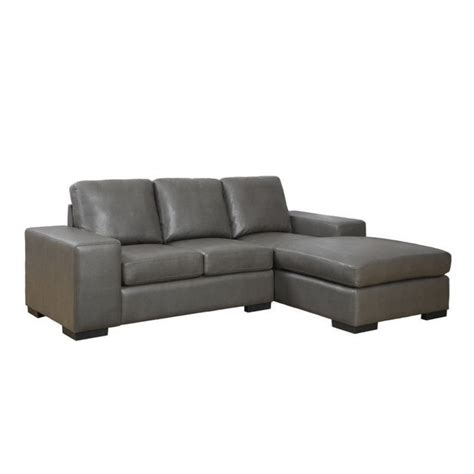 leather sofa lounger in charcoal gray i8200gy