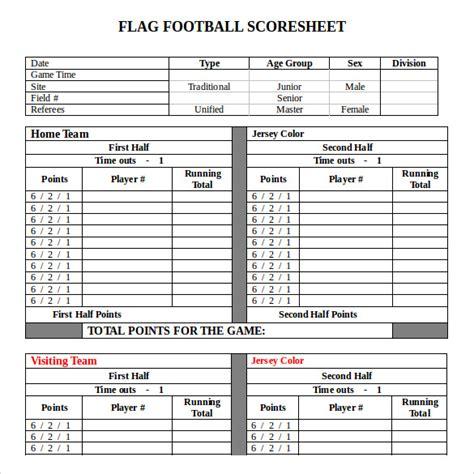 football score sheet 9 football score sheets free sle exle format
