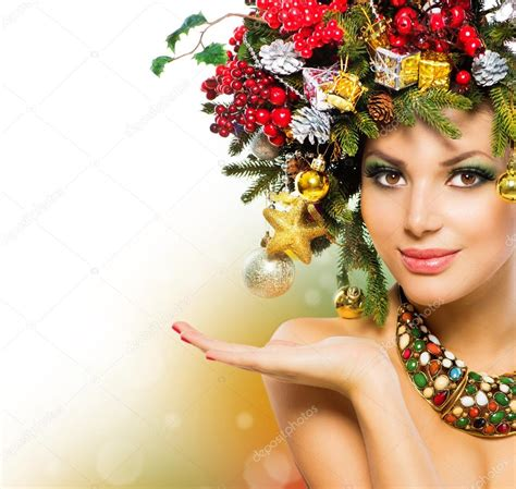christmas woman christmas holiday hairstyle and makeup