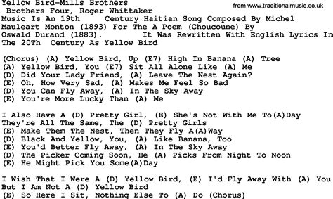 country yellow bird mills brothers lyrics and chords
