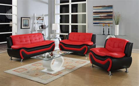 red and black sofa set 3 pc modern black and red bonded leather sofa set ebay