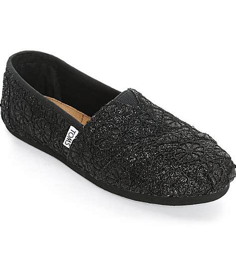 toms glitter shoes for toms classics black glitter crochet womens shoes