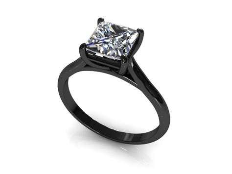wedding rings black band princess cut engagement