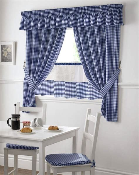 blue and white gingham curtains blue and white gingham kitchen curtains pelmet 24 cafe