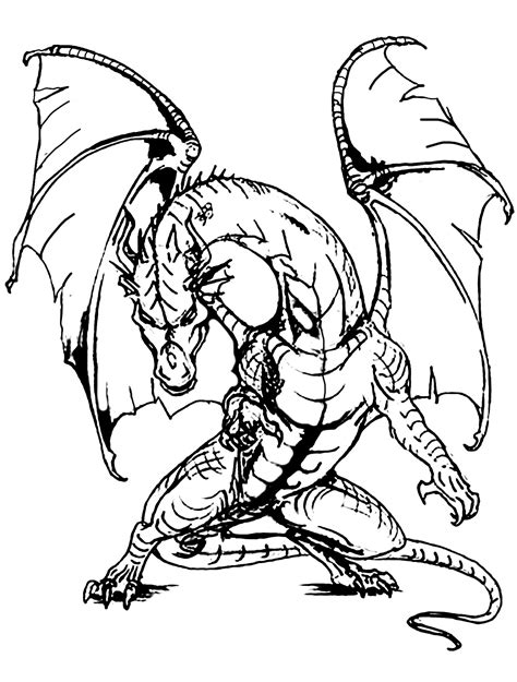 coloring pictures of scary dragons giant dragon dragons adult coloring pages