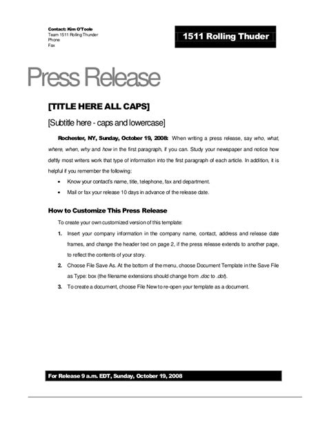 Rolling Thunder Press Release Template Album Press Release Template