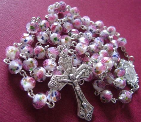 Handmade Rosaries From Roses - pink veluriyam italy cross madel catholic