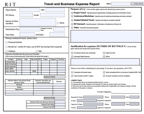 6 expense report form templates formats exles in