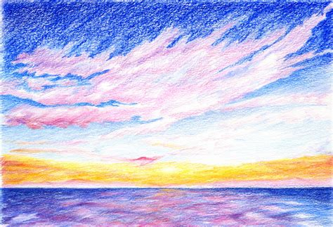 sunset drawing with colored pencils my drawing