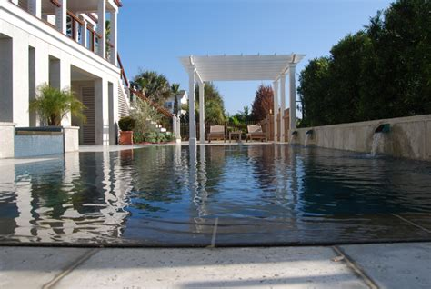 perimeter overflow swimming pool  spa located  isle