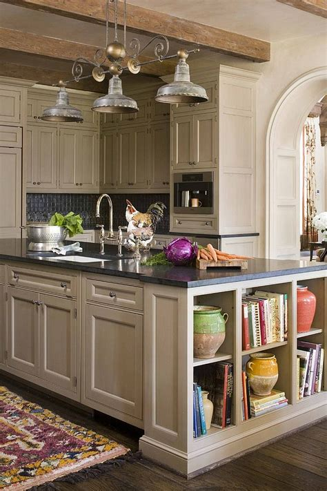 Kitchen Island Shelves | open shelves add a fabulous display to the kitchen island