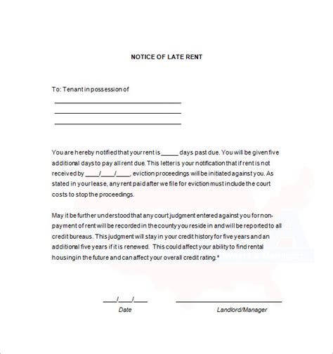 Late Rent Payment Letter From Landlord late rent notice template 11 free word excel pdf