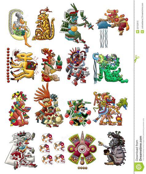 dioses mayas imagenes y nombres colecci 243 n de deidades mayas aisladas en blanco foto de
