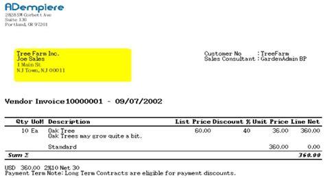 vendor invoice template vendor invoice template invoice exle