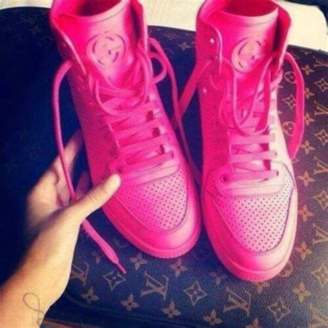 shoes gucci high top sneakers pink neon wheretoget