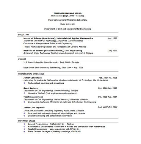 10 civil engineer resume templates pdf doc free