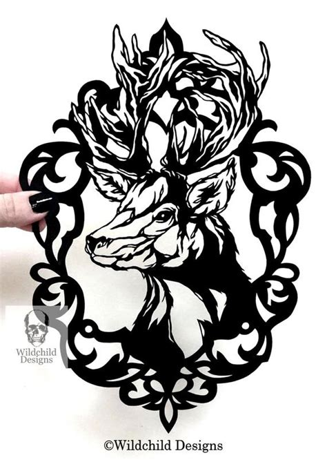 Cameo Stag Gothic Silhouette Paper Cut Template For Personal Silhouette Templates For Paper Cutting
