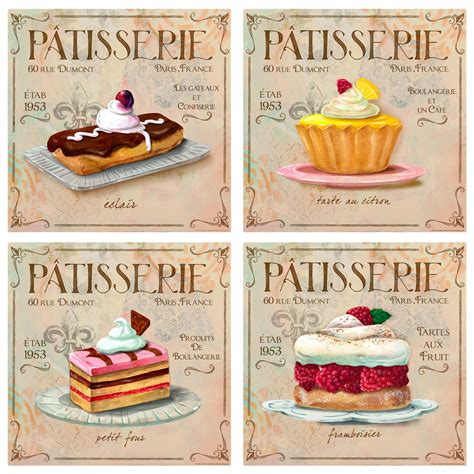 vintage style home decor patisserie french bakery wall decal set vintage style home