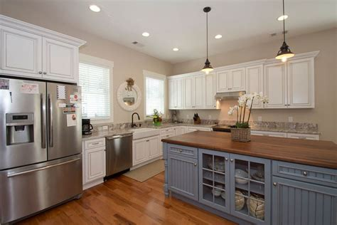 White Cabinets Gray Walls by Blue And White Farmhouse Kitchen Quicua Com