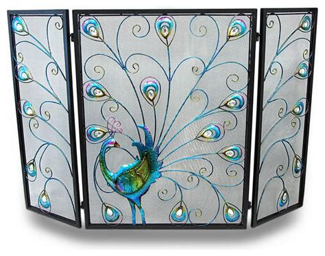 colorful peacock and plumes jeweled metal 3 panel