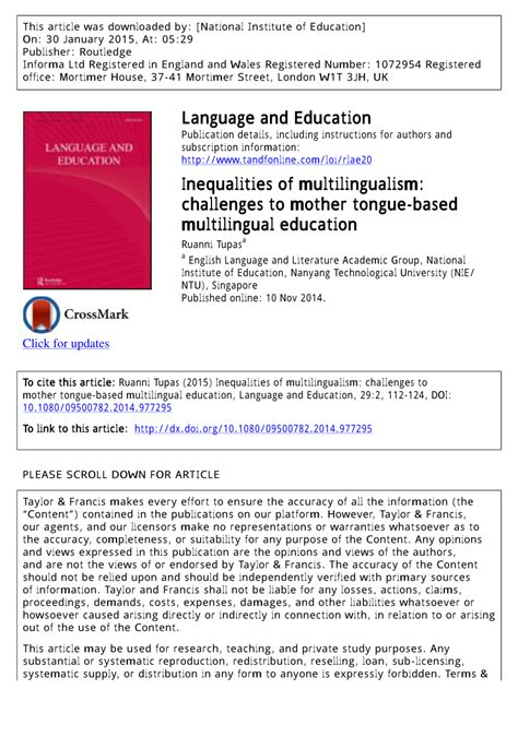thesis about mother tongue based education inequalities of multilingualism pdf download available