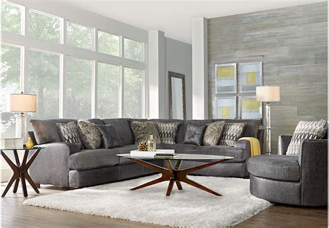 5 Pc Living Room Set Skyline Drive Gray 5 Pc Sectional Living Room Living Room Sets Gray